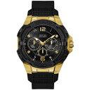 ゲス メンズ 腕時計 アクセサリー Men's Black Silicone Strap Watch 51mm Black