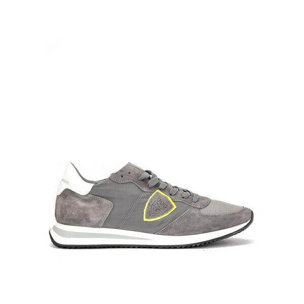 フィリップモデル メンズ スニーカー シューズ Philippe Model Tropez X Sneaker In Suede And Gray Fabric GRIGIO