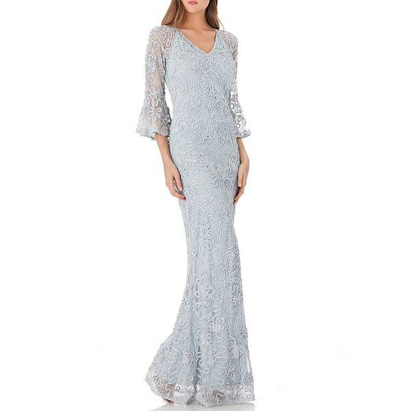ジェイエスコレクションズ レディース ワンピース トップス Sequin Embroidered Soutache V-Neck Bell Sleeve Sheath Gown Celeste Blue