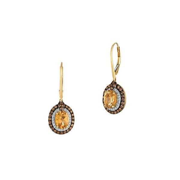 ルヴァン レディース ピアス&イヤリング アクセサリー 14K Honey Gold™, Papaya Morganite™, Vanilla Diamond® & Chocolate Diamond® Earrings Gold