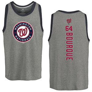 ファナティクス メンズ Tシャツ トップス Washington Nationals Fanatics Branded Personalized Playmaker TriBlend Tank Top Heather Gray