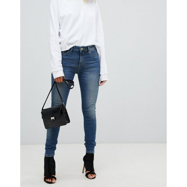 エイソス レディース デニムパンツ ボトムス ASOS LISBON In Skinny Mid Rise Jeans In Elliot Aged Mid Wash Mid wash blue