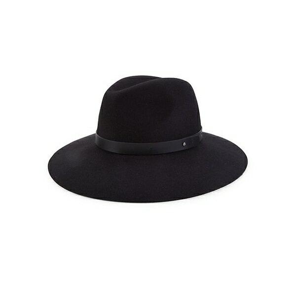 レディース帽子, ハット  Leather-Band Wool Fedora BLACK