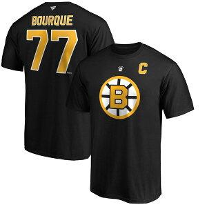 ファナティクス メンズ Tシャツ トップス Ray Bourque Boston Bruins Fanatics Branded Authentic Stack Retired Player Name & Number T-Shirt Black