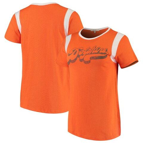 ジャンクフード レディース Tシャツ トップス Miami Dolphins Junk Food Women's Retro Sport TShirt Orange/White