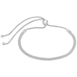 スターリングフォーエバー レディース ブレスレット・バングル・アンクレット アクセサリー Sterling Silver Mesh Slider Bracelet Silver