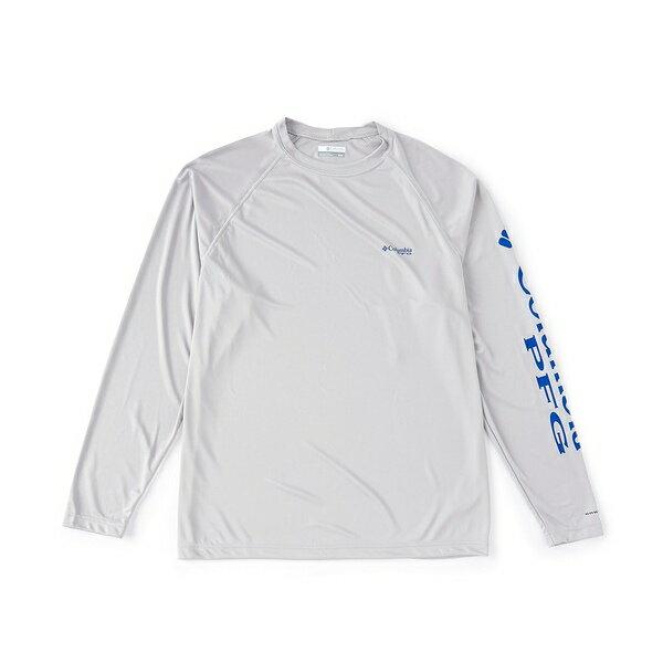 コロンビア メンズ Tシャツ トップス PFG Terminal Tackle Long-Sleeve Rashguard Tee Cool Grey/Vivid Blue