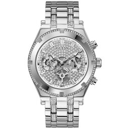 ゲス メンズ ブレスレット・バングル・アンクレット アクセサリー Men's Stainless Steel Bracelet Watch 44mm Silver-tone