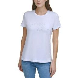 ダナ キャラン ニューヨーク レディース カットソー トップス Rhinestone Graphic T-Shirt White