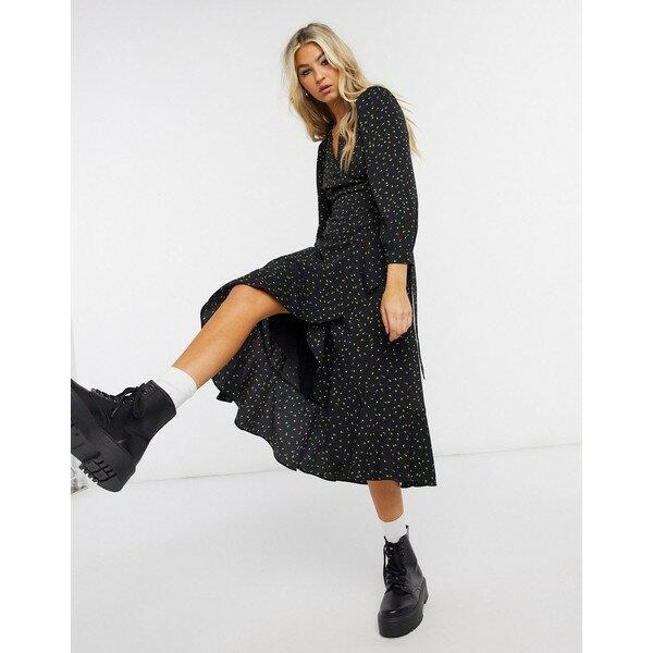 スーツ・セットアップ, ワンピーススーツ  Whistles Bud print wrap dress in black Black