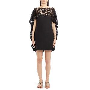 Валентино Ladies Цельный топ с кружевной накидкой и мини-платьем Nero