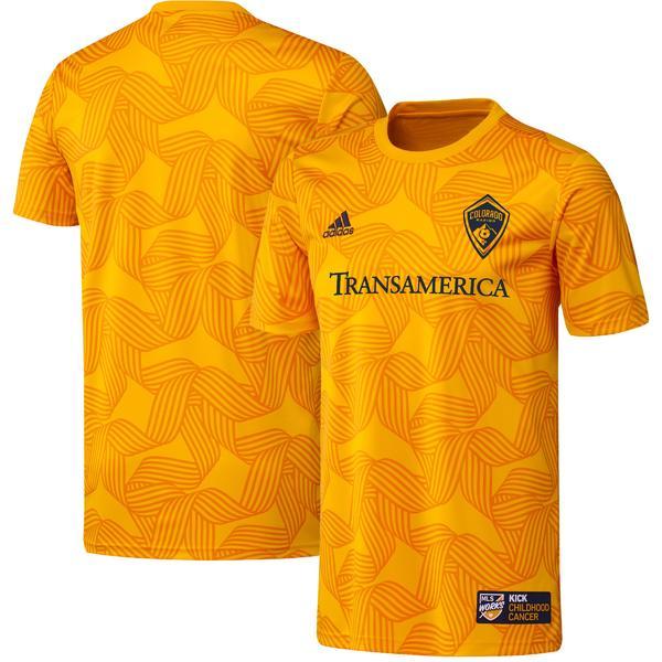 トップス, ベスト・ジレ  Colorado Rapids adidas 2019 MLS Works Kick Childhood Cancer PreMatch Top Yellow