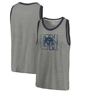 ファナティクス メンズ Tシャツ トップス New Hampshire Wildcats Fanatics Branded College Vault Primary Logo Tri-Blend Tank Ash
