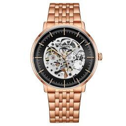 スターリング メンズ 腕時計 アクセサリー Men's Automatic Rose Gold Tone Link Bracelet Watch 42mm Black