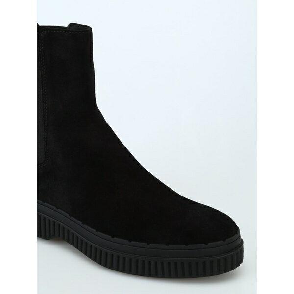 トッズ レディース ブーツ&レインブーツ シューズ Tod's Pull-on Suede Ankle Boots With Pebbles Black