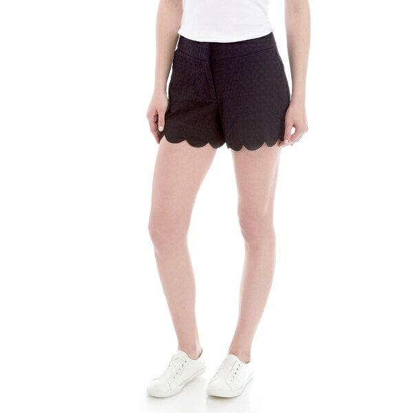 ボトムス, パンツ  Petite Shelby Scalloped Hem Shorts Black