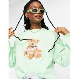 デイジーストリート レディース パーカー・スウェットシャツ アウター Daisy Street relaxed sweatshirt with bear print Mint