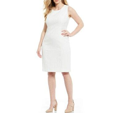 カスパー レディース ワンピース トップス Plus Size Textured Jacquard Empire Seamed Sheath Dress Vanilla Ice