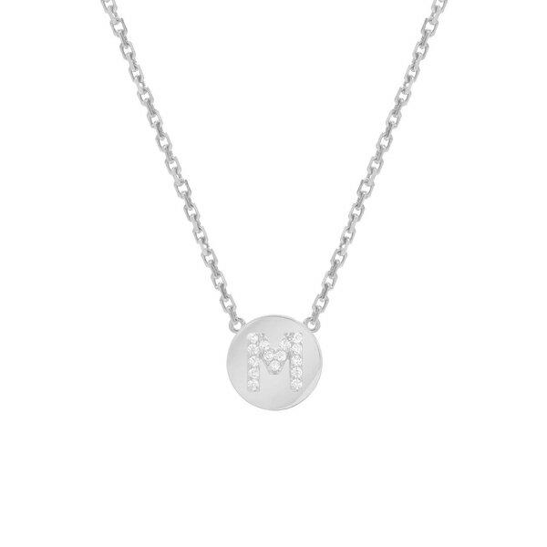 ミニミニジュエルズ レディース ネックレス・チョーカー・ペンダントトップ アクセサリー Mini Mini Jewels Framed Diamond Initial Pendant Necklace White Gold-M
