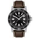 ティソット メンズ 腕時計 アクセサリー Men's Swiss Supersport Brown Leather Strap Watch 44mm Black