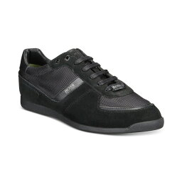 ヒューゴボス メンズ スニーカー シューズ HUGO Men's Glaze Low-Profile Sneakers Black