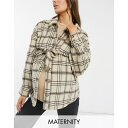 ママライシアス レディース コート アウター Mamalicious Maternity checked shacket with tie detail Checks