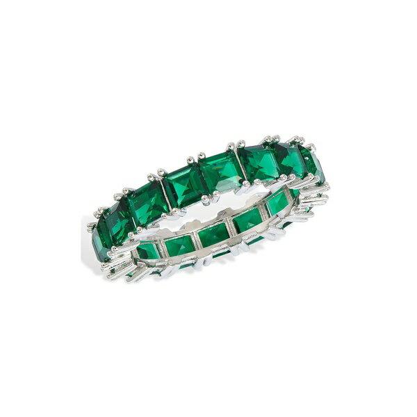 レディースジュエリー・アクセサリー, 指輪・リング  Sterling Silver Square Emerald Baguette Ring GREEN
