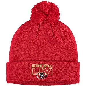 ニューエラ メンズ 帽子 アクセサリー San Francisco 49ers New Era Super Bowl LIV Bound Bold Cuffed Knit Hat with Pom Red