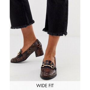 エイソス レディース ヒール シューズ ASOS DESIGN Wide Fit Stirrup mid-heeled loafers in conker snake Conker snake