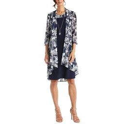 アールアンドエムリチャーズ レディース ワンピース トップス Necklace Dress & Printed Jacket Navy