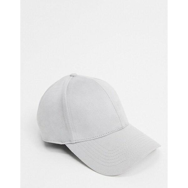 メンズ帽子, キャップ  ASOS DESIGN baseball cap in light gray soft touch fabric Grey