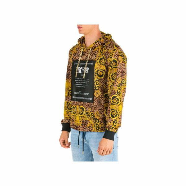 ベルサーチ メンズ パーカー・スウェットシャツ アウター Versace Jeans Couture Hoodie Sweatshirt Sweat Leo Baroque Marrone