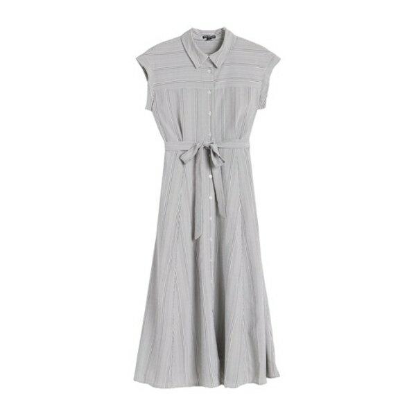 スーツ・セットアップ, ワンピーススーツ  Striped Button Front Midi Dress BLKWHT