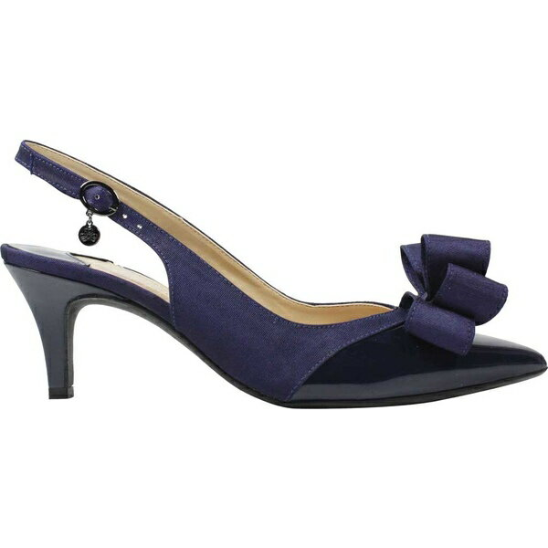 ジェイレニー レディース ヒール シューズ Gabino Pointed Toe Slingback Navy Patent/Navy Fabric