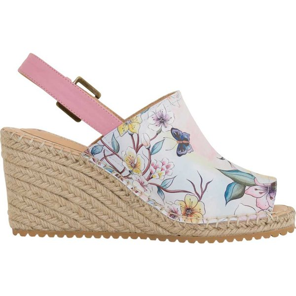アヌシュカ レディース サンダル シューズ Maya Espadrille Wedge Japanese Garden Printed Leather