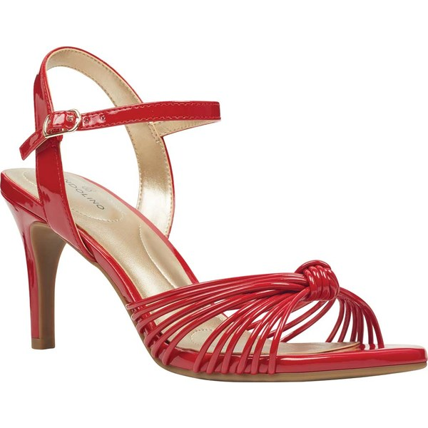 バンドリーノ レディース サンダル シューズ Jionzo Two-Piece Dress Sandal Ribbon Red Sleek Faux Patent