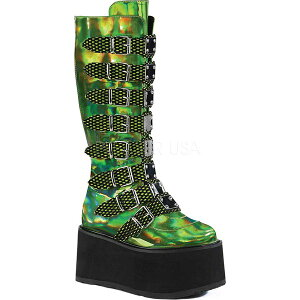 デモニア レディース ブーツ&レインブーツ シューズ Damned 318 Knee-High Platform Buckle Boot Lime Green Hologram Vegan Leather