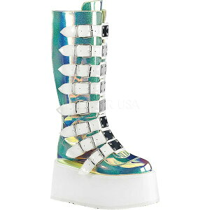 デモニア レディース ブーツ&レインブーツ シューズ Damned 318 Knee-High Platform Buckle Boot UV Green Shifting Glitter Vegan Leather