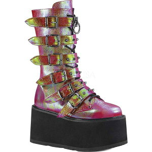 デモニア レディース ブーツ&レインブーツ シューズ Damned 225 Platform Buckle Boot Pink/Green Iridescent Vegan Leather