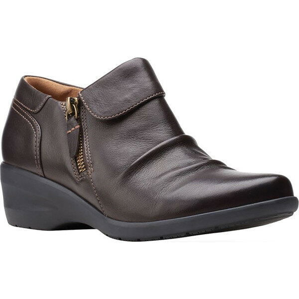 ブーツ, エンジニア  Womens Clarks Rosely Lo Ankle Bootie Dark Brown Full Grain Leather
