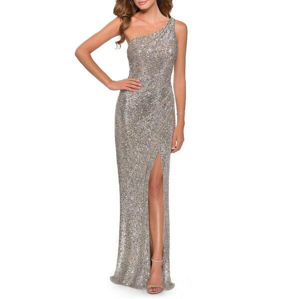 スーツ・セットアップ, ワンピーススーツ  One-Shoulder Sequin Gown Silver