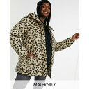 ピーシーズ マタニティ レディース コート アウター Pieces Maternity padded coat with belted waist in leopard Multi