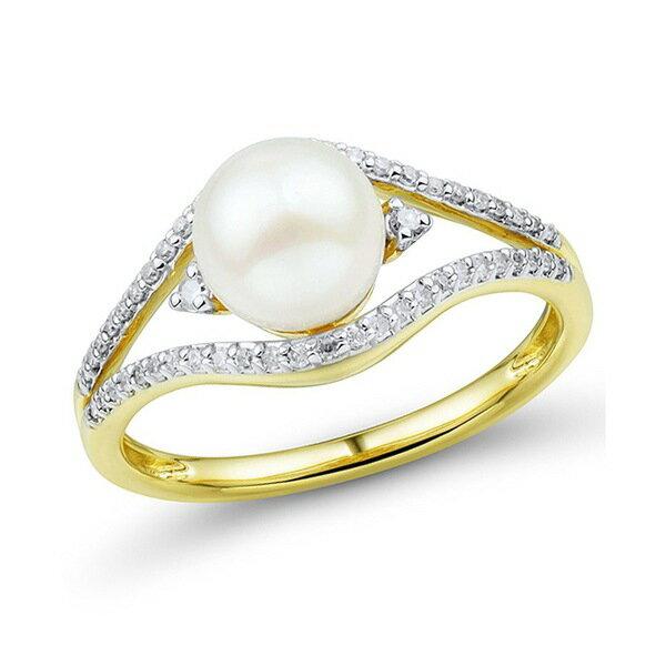 レディースジュエリー・アクセサリー, 指輪・リング  Cultured Freshwater Pearl (7mm) Diamond (16 ct. t.w.) Ring in 14k Gold Yellow Gold
