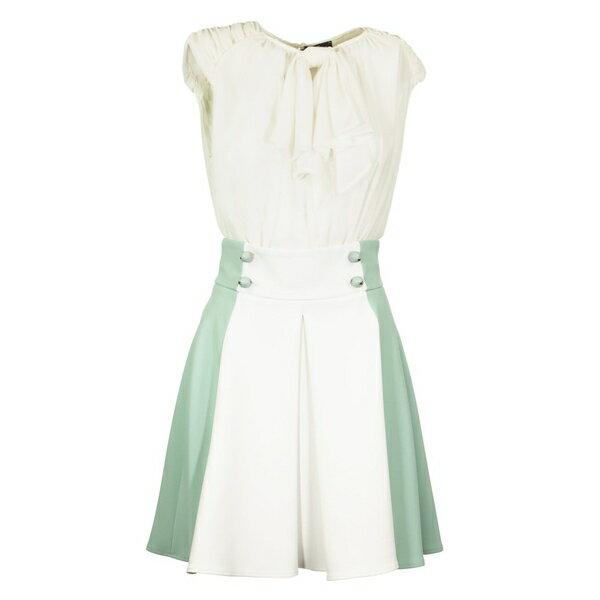 エリザベッタフランキ レディース ワンピース トップス Elisabetta Franchi Celyn B. Dress With Two-colour Miniskirt Aquamarine