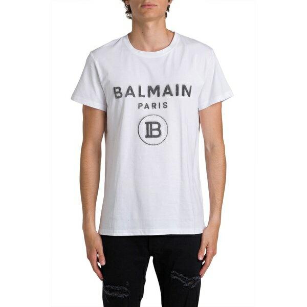 バルマン メンズ カットソー トップス Balmain Shaded Logo Tee On Front Bianco