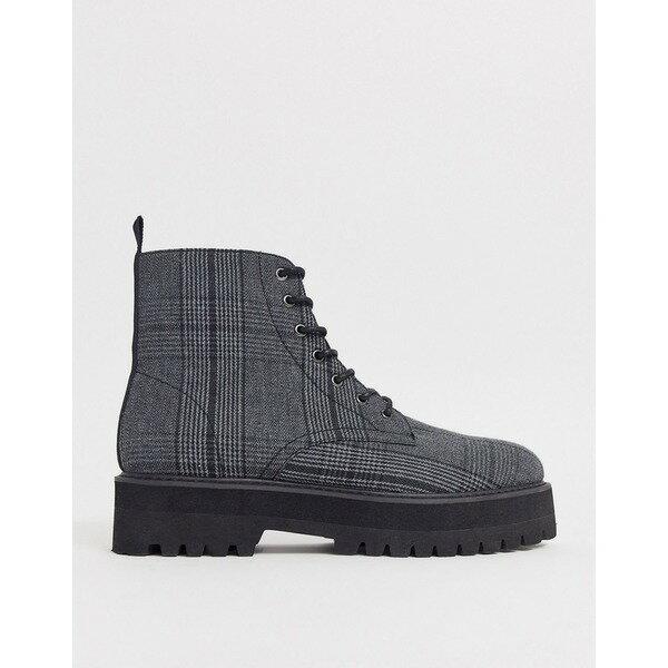 エイソス メンズ ブーツ&レインブーツ シューズ ASOS DESIGN lace up boots in check with raised chunky black sole Gray