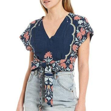 フリーピープル レディース シャツ トップス Arielle Cropped Floral Print Deep V-Neck Dolman Sleeve Self-Tie Front Top Dark Combo