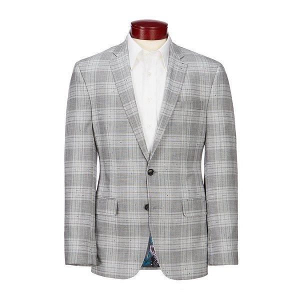 ムラノ メンズ ジャケット&ブルゾン アウター Slim-Fit Slub Plaid Suit Separates Blazer Grey