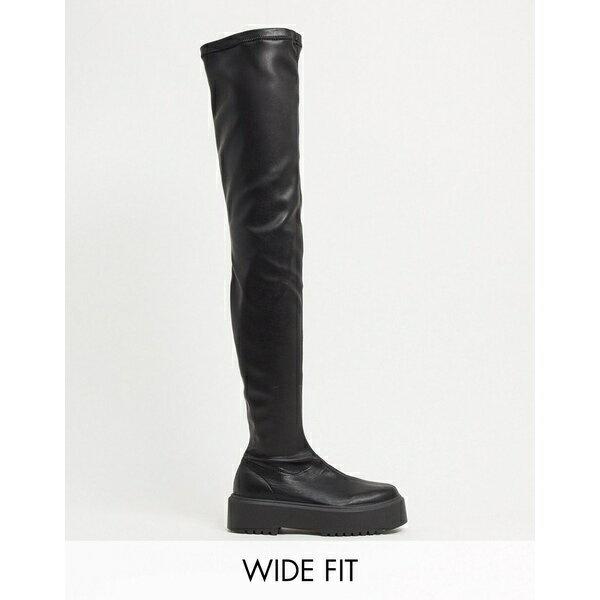 ブーツ, エンジニア  ASOS DESIGN Wide Fit Katie chunky over the knee boots in black Black