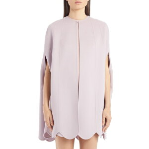Valentino Ladies Jacket & Blouson Outer Scallop Hem Compact Wool & Cashmere Cape Water Lilac